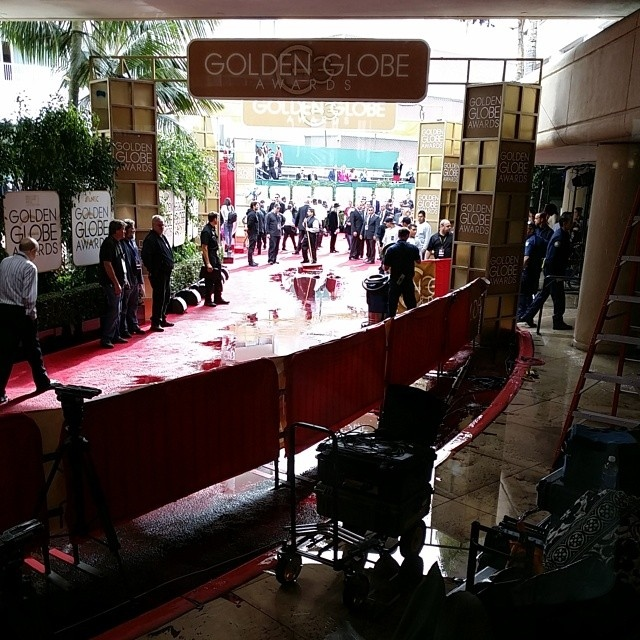 Overcast skies parted to let the sun shine on the Golden Globe Awards red carpet moments before the stars started arriving for Sunday's telecast, but there was still some water damage. (Instagram: benmulroney)