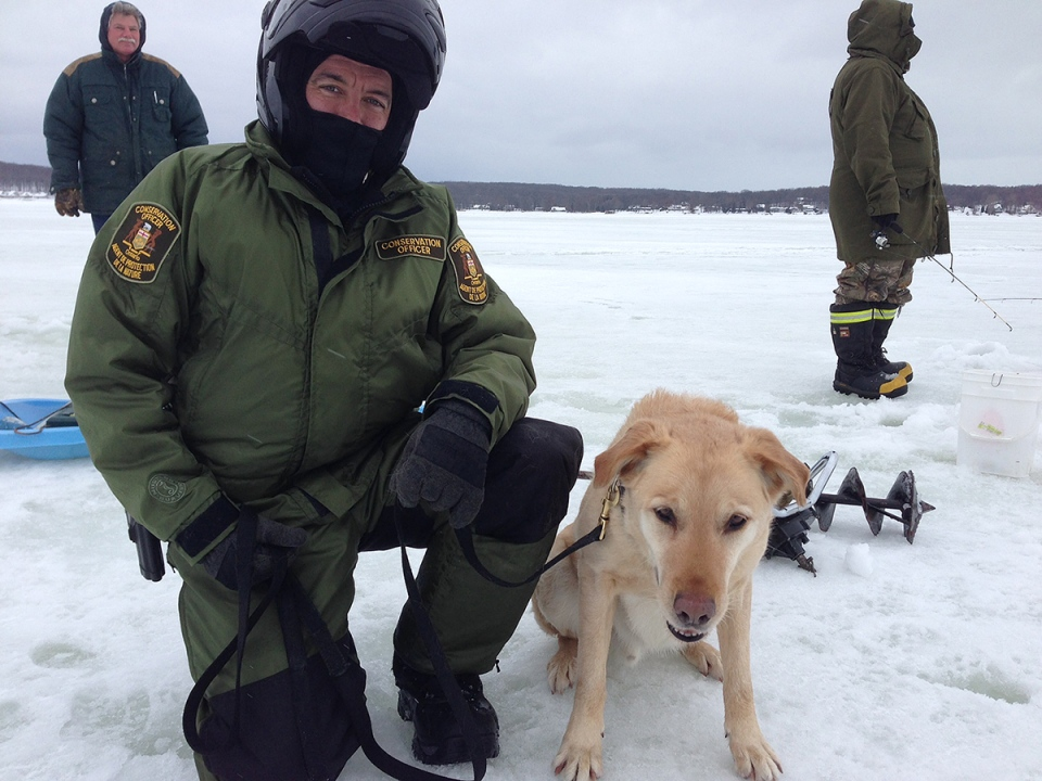 Tanner is seen with his partner, MNR officer Colin Cotnam, Jan. 12, 2014. (KC Colby / CTV Barrie)