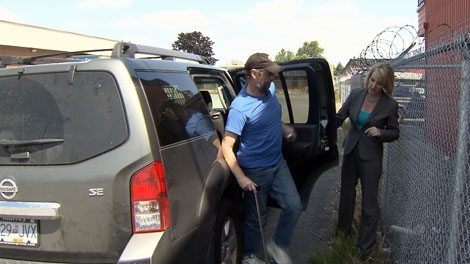 Lynda Steele went to the Langley bus depot to help a legally blind man have his lost luggage returned after Greyhound refused to. Aug. 24, 2011. (CTV)