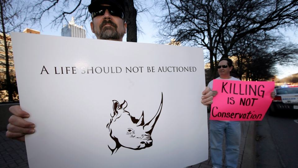 Bob Fretwell of Mesquite, Texas, holds a sign protesting outside the Dallas Convention Center where the Dallas Safari Club is holding it's weekend show and auction, Saturday, Jan. 11, 2014, in Dallas. Hunt the black rhino to save the black rhino. (AP / Tony Gutierrez)