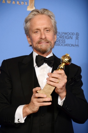 Michael Douglas poses in the press room