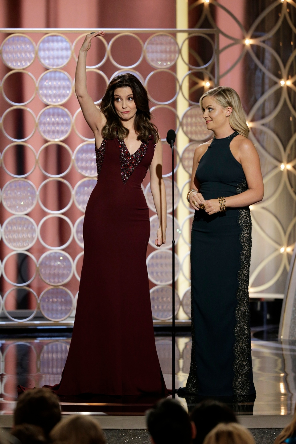 Tina Fey, left, and Amy Poehler are shown during the 71st annual Golden Globe Awards at the Beverly Hilton Hotel on Jan. 12, 2014, in Beverly Hills, Calif. (AP / Paul Drinkwater)