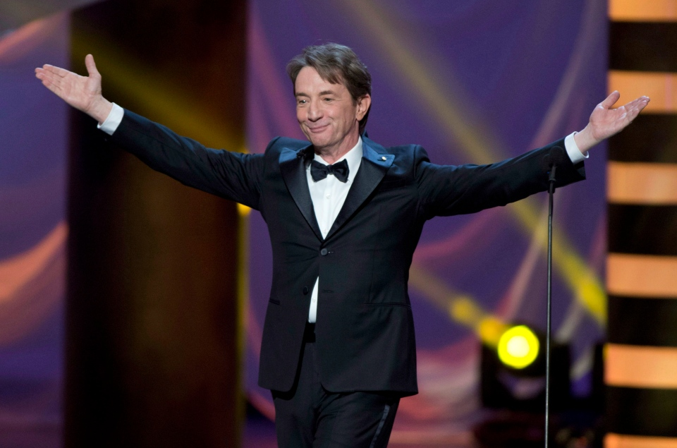 Martin Short, seen here hosting the 2013 Canadian Screen Awards, will take on hosting duties again this year. The awards combines previous separate celebrations for film, known as the Genie Awards, and television, known as the Gemini Awards. This year's gala will take place on March 9. (CP / Frank Gunn)