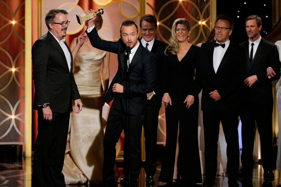 Vince Gilligan, left, and actor Aaron Paul accept the award for best TV series drama for 'Breaking Bad' during the 71st annual Golden Globe Awards at the Beverly Hilton Hotel in Beverly Hills, Calif., Sunday, Jan. 12, 2014.