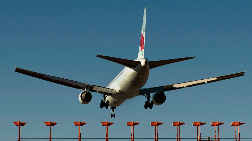 An Air Canada passenger jet lands on Jan. 21, 2013. (The Canadian Press/Andrew Vaughan)