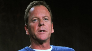 Kiefer Sutherland speaks during the panel for '24: Live Another Day' at the FOX Winter 2014 TCA, on Monday, Jan. 13, 2014, at the Langham Hotel in Pasadena, Calif. (Photo by Richard Shotwell / Invision / AP)