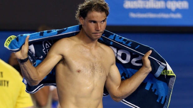 Rafael Nadal after Bernard Tomic retired