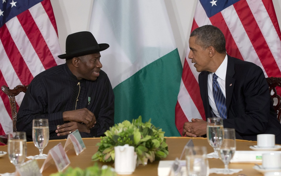 President Barack Obama meets with Nigerian President Goodluck Jonathan in New York, in this Monday, Sept. 23, 2013 file photo. (AP / Pablo Martinez Monsivais)