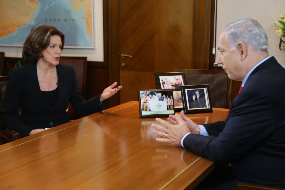 Lisa LaFlamme interviews Israeli PM Benjamin Netanyahu on Tuesday Jan. 14, 2014. (Rosa Hwang / CTV News)