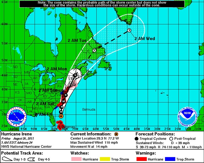 Hurricane Irene's five-day forecast cone is seen in this NOAA graphic, made available Friday, Aug. 26, 2011.