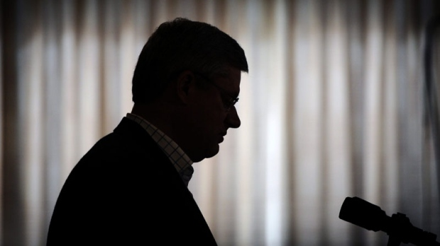 Prime Minister Stephen Harper speaks during an announcement at Stanton Hospital regarding a heath care funding for the north in Yellowknife, Northwest Territories on Thursday, August 25, 2011. (THE CANADIAN PRESS/Sean Kilpatrick)
