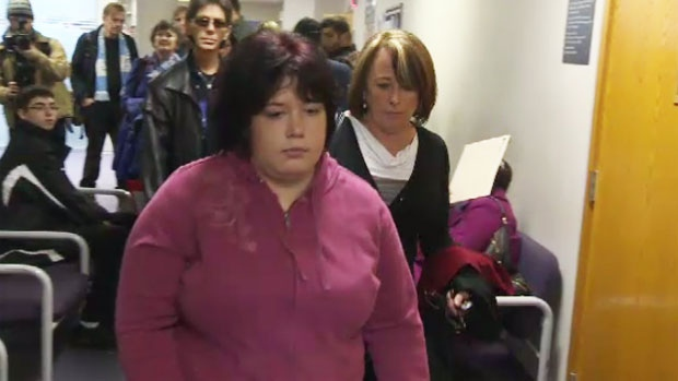 Nichele Benn was surrounded by supporters as she appeared in Dartmouth provincial court Wednesday morning. (CTV Atlantic)