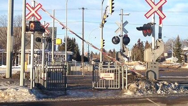 The LRT crossing arms at 111 St. and 51 Ave. were damaged by high winds Wednesday, January 15.