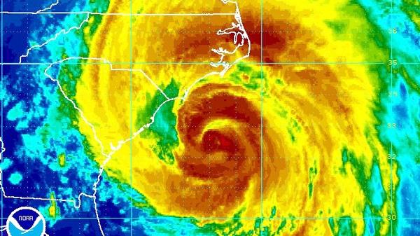 Hurricane Irene heads towards the North Carolina coast as seen in this enhanced NOAA satellite image taken at 9:45 p.m. ET, Friday, Aug. 26, 2011.