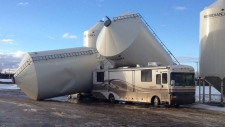Silos topple over from high winds