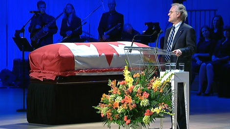 Stephen Lewis delivers one of the eulogies during the funeral of Jack Layton at Roy Thompson Hall in Toronto, Saturday, Aug. 27, 2011.