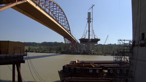 Construction continues on the Port Mann Bridge. Aug. 27, 2011. (CTV)