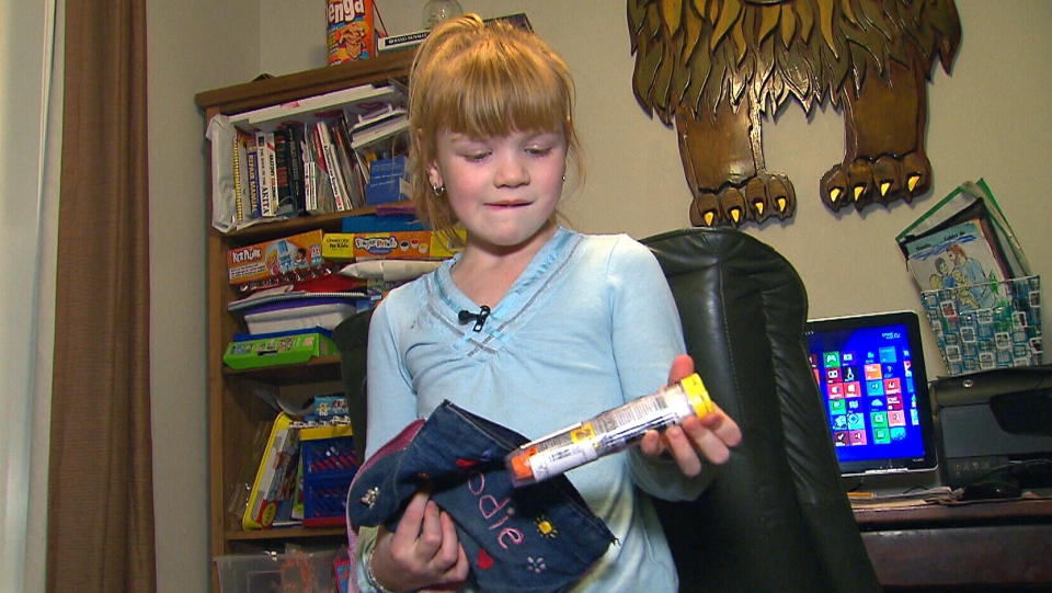 Six-year-old Elodie Glover suffers from severe allergies to eggs and dairy.