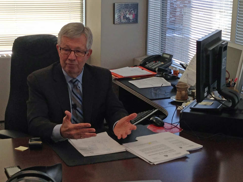 Saskatchewan privacy commissioner Gary Dickson speaks to media in his office in Regina on Thursday.