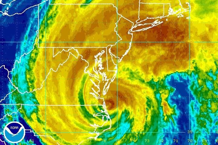 Hurricane Irene is seen in this enhanced NOAA satellite image taken at 6:15 p.m. ET, Saturday, Aug. 27, 2011.