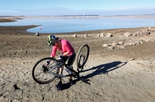 Dry lake bed in drought-ravaged California