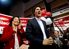 Liberal Leader Justin Trudeau speaks in Thornhill