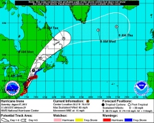 Hurricane Irene's five-day forecast cone is seen in this NOAA graphic, made available Saturday, Aug. 27, 2011.