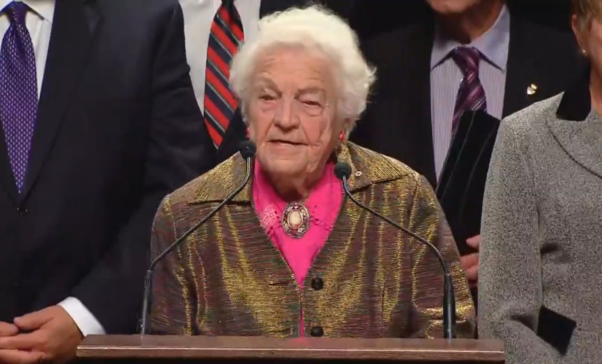 Mississauga Mayor Hazel McCallion speaks to reporters after officials from Ontario municipalities met Friday, Jan. 17, 2014, to discuss an ice storm that struck in late December.