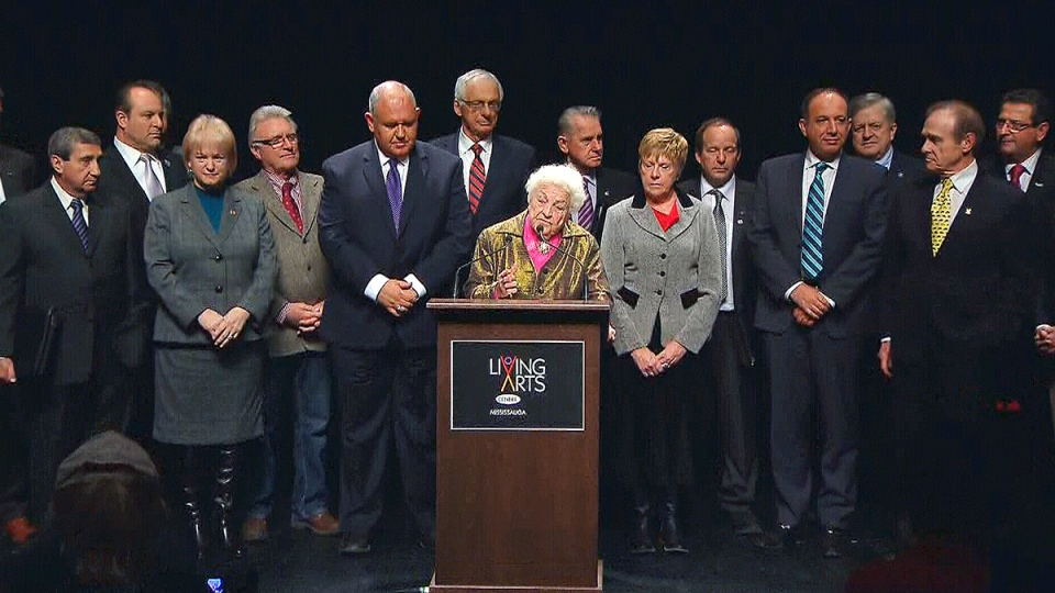 Mississauga Mayor Hazel McCallion speaks about the impact of the ice storm as the municipal leaders of the GTA look on, at the Living Arts Centre in Mississauga, Friday, Jan. 17, 2014.