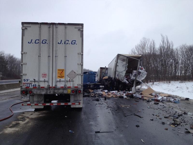 A crash between three transport trucks shut down part of Highway 401 near Drumbo, Ont., on Friday, Jan. 17, 2014. (Kevin Doerr / CTV Kitchener)