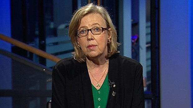 Green Party Leader Elizabeth May speaks in an interview that aired on CTV's Question Period.