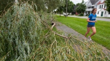 A runner makes her way past a downed tree top along Waterloo Row in Fredericton, N.B., on Monday, Aug. 29, 2011. (David Smith / THE CANADIAN PRESS)
