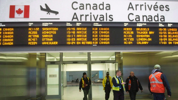 The arrival gate at Toronto's Pearson International Airport is shown in this March 2012 file photo. (Nathan Denette / THE CANADIAN PRESS)