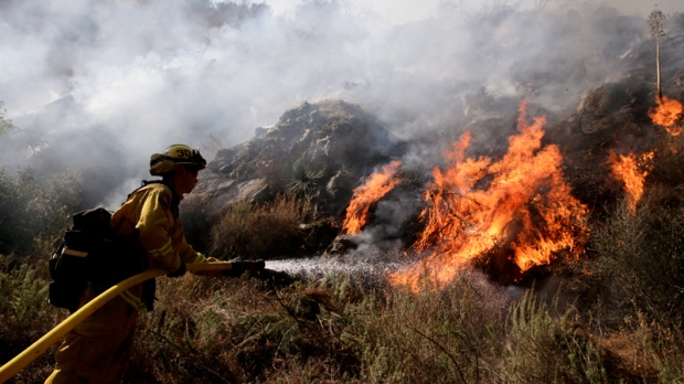 Fighting the Colby Fire near Azusa, Calif.
