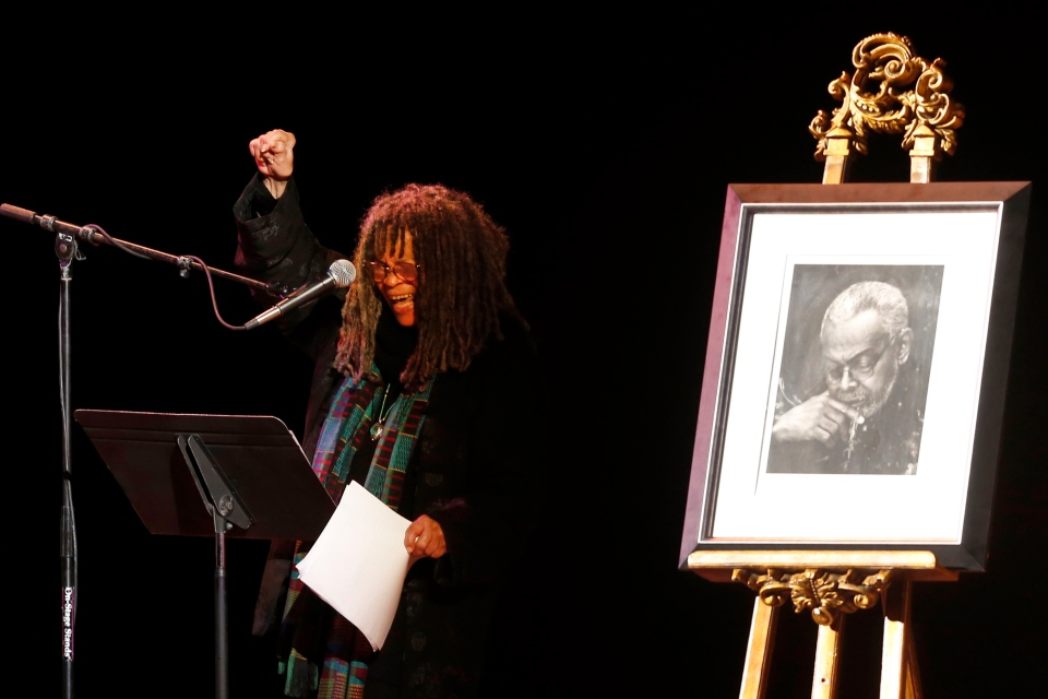 Poet Sonia Sanchez reads a poem during the funeral of poet Amiri Baraka Saturday, Jan. 18, 2014, in Newark, N.J. The 79-year-old author of blues-based poems, plays and criticism died Jan. 9 of an undisclosed illness. (AP Photo/Jason DeCrow)