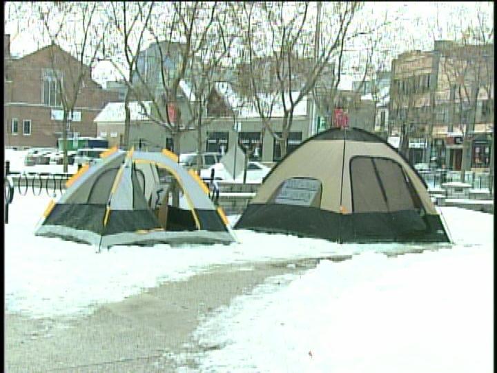 Halim Sbenati set up his tents in Victoria Park on Jan. 18, 2014