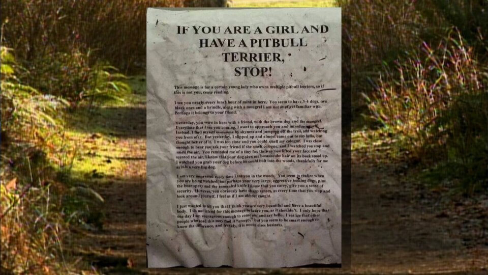 This letter and others recently appeared on a popular trail in Campbell River, prompting police to issue a warning to users. (CTV)