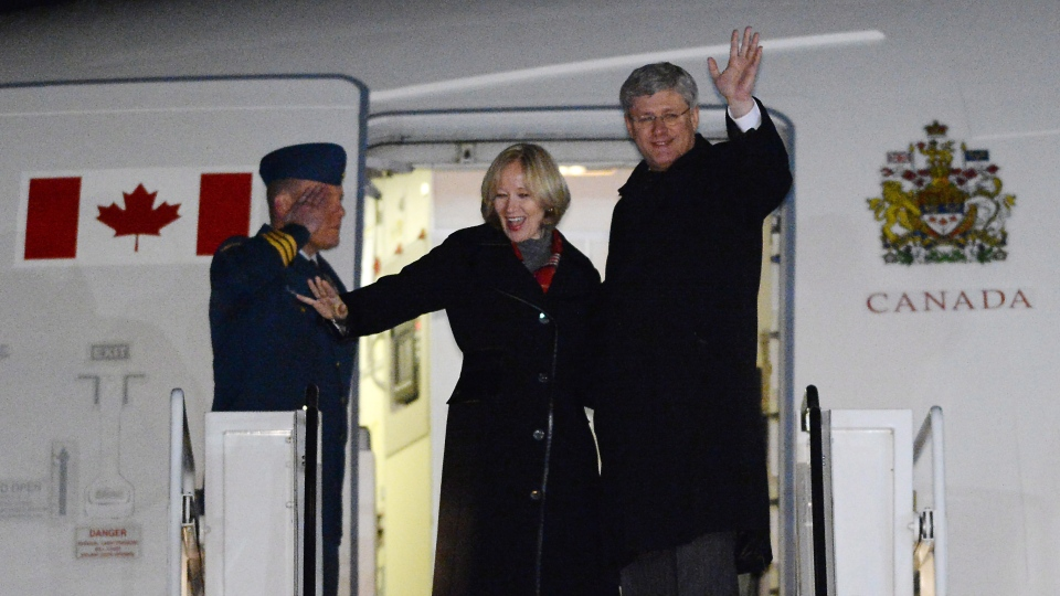 Prime Minister Stephen Harper and wife Laureen depart Ottawa for Israel on Saturday, January 18, 2014. On his inaugural trip Harper will be visiting Israel, West Bank, and Jordan. (Sean Kilpatrick / THE CANADIAN PRESS)