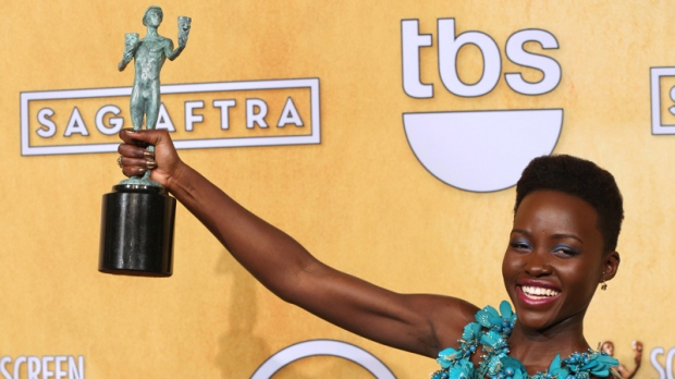 Lupita Nyong'o poses with her SAG Award