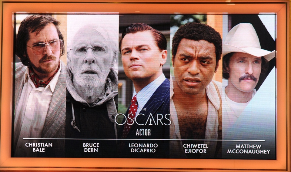 A giant screen shows the Oscar nominees for Best Actor at the 86th Academy Awards nominations announcement. (AFP Photo / Robyn Beck)