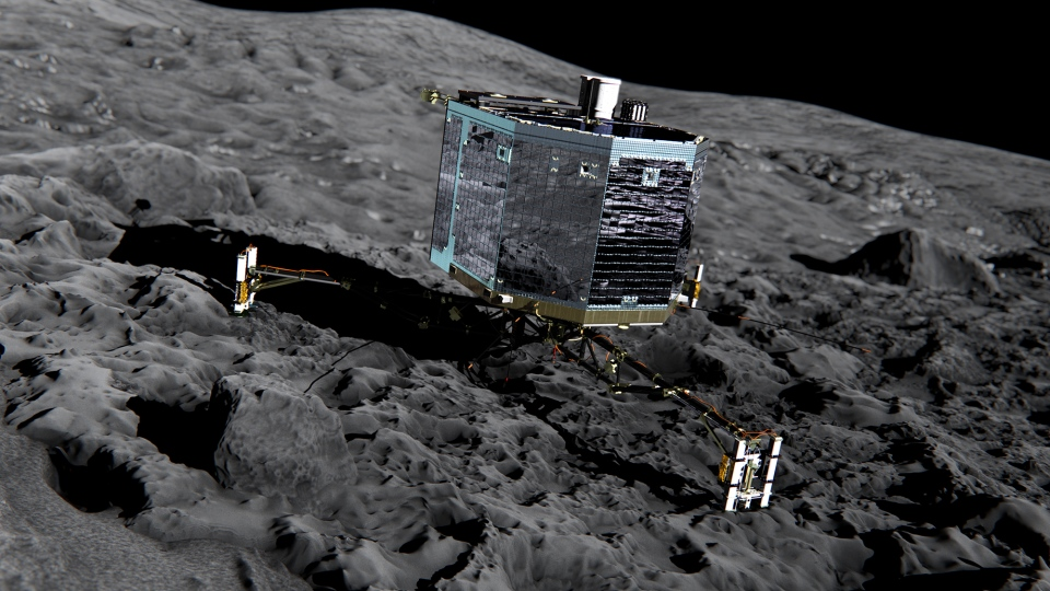 An artist's impression of Rosetta's lander Philae (front view) on the surface of comet 67P/Churyumov-Gerasimenko is pictured in this undated photo. (European Space Agency)
