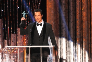 "Matthew McConaughey accepts the award for outstanding performance by a male actor in a leading role for ""Dallas Buyers Club"" at the 20th annual Screen Actors Guild Awards at the Shrine Auditorium on Saturday, Jan. 18, 2014, in Los Angeles. (Photo by Frank Micelotta/Invision/AP)"