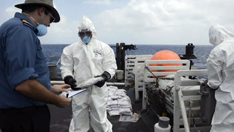 A Canadian Forces warship has intercepted a vessel carrying a massive haul of heroin in the Indian Ocean. (D&D Combat Camera)