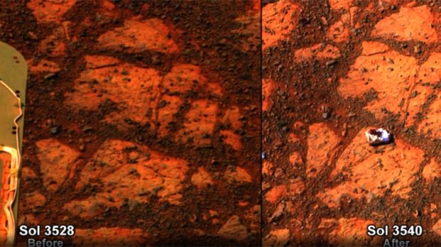 Opportunity images of mystery rock on Mars