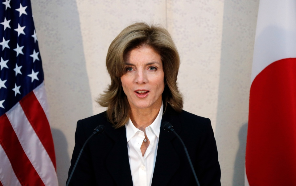 U.S. Ambassador to Japan Caroline Kennedy gives a statement shortly after her arrival at the Narita International Airport in Narita, east of Tokyo, Friday, Nov. 15, 2013 (AP / Koji Sasahara)
