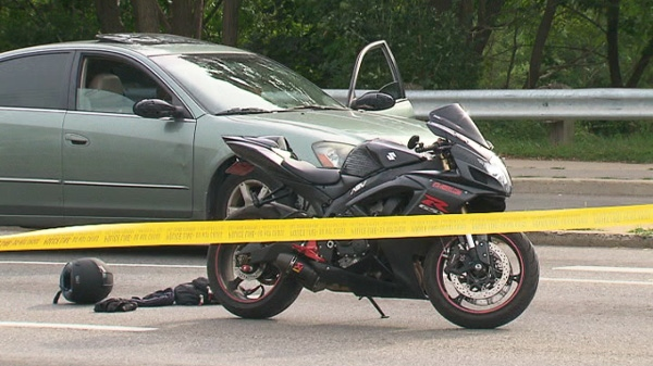 A bizarre accident in the east end injures a motorcyclist, Sunday, Aug. 28, 2011.