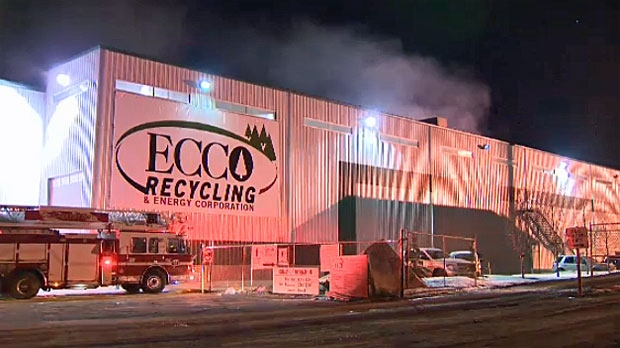 Garbage fire, recycling fire, ECCO, waste fire