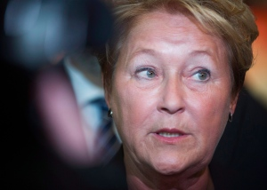 Quebec Premier Pauline Marois speaks to reporters following a funding announcement in Montreal on Jan. 14, 2014. (Graham Hughes/THE CANADIAN PRESS)