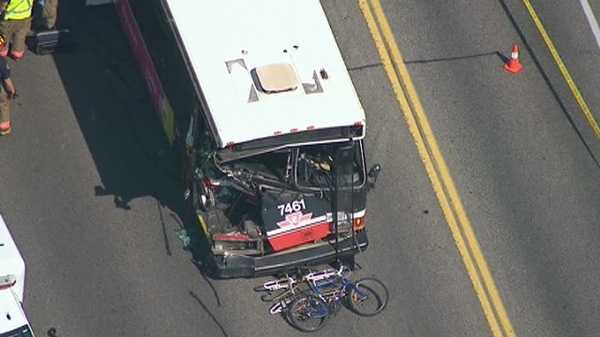 One person reportedly died in a crash involving a TTC bus, Tuesday, Aug. 30, 2011.