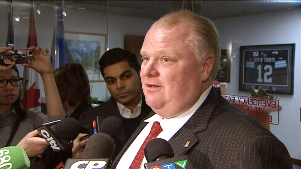 Mayor Rob Ford speaks to reporters outside his office at city hall in Toronto on Monday, Jan. 20, 2014.